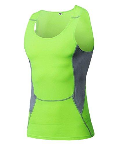 ZongSen Homme T-Shirt Multisport sans Manches Débardeur Séchage Rapide Haut Tops Vert XL