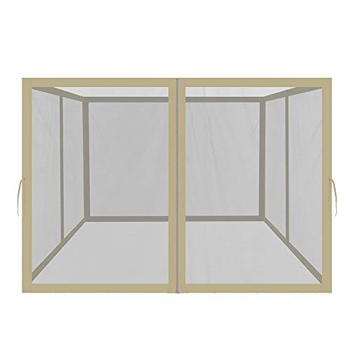 Easylee Universal 10' x 12' Gazebo Replacement Mosquito Netting, 4-Panel Netting Walls for Patio with Zippers (Beige)