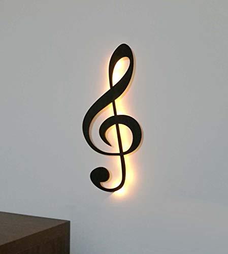 kh Teile Musik Note Notenschlüssel Dekoration Holz Wanddeko Wandschmuck, mit Led Licht, 60 cm, Wandbild schwarz
