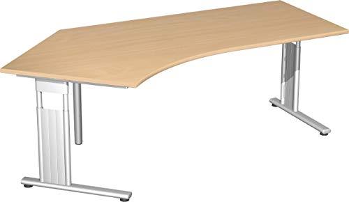 Gera Möbel S-617315-BU/SI Schreibtisch 135 Grad Links Lissabon, 216,6 x 113,1 x 68-82 cm, buche/Silber