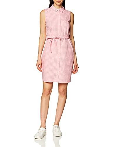Tommy Hilfiger Women's Sleeveless Shirt Dress, Peony/White, 2