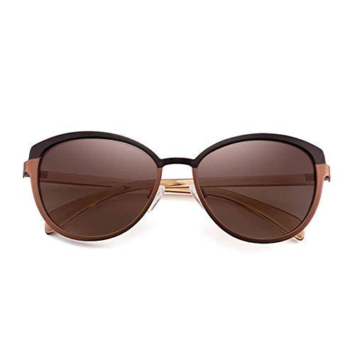 WOXING Metal Elegantes Vintage Marco Pequeño Gafas,Moda Gafas De Sol,Aire Libre Deportes Viajes Compras Día Festivo Senderismo Gafas,para La Sra 1 Mujere Gafas-Marrón 13.9x4.9cm(5x2inch)