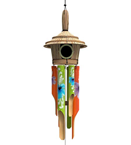"""Nalulu House Bamboo Wind Chimes - Outdoor Wood Wooden Painted Design with Birdhouse Crown, 40"""" & Relaxation Ready"""