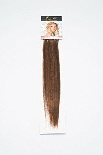 1st Lady soyeux droites Naturel européen 3 pcs extension de cheveux humains à clipser avec Premium Blend, numéro P4/30, Chocolat/auburn, 45,7 cm 28 g