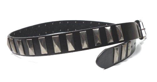 flevado Kompackt Voll Nietengürtel massiv Nieten an einem schwarzen Ledergürtel (125 cm)