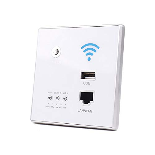 KKmoon 300 Mbit/s 220 V WLAN-router AP relais Smart Wireless WIFI Repeater Extender Wand Embedded 2,4 GHz Router Panel USB-aansluiting RJ45 wit