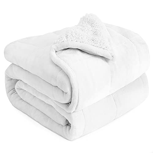 Sherpa Fleece Weighted Blanket 15 lbs for Adult, Cottonblue Sherpa...