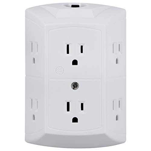 GE 6-Outlet Wall Tap, Reset Button, Circuit Breaker, Power Outlet Extender, Adapter Spaced Outlets, 3 Prong Plug, Grounded, UL Listed, White, 56575