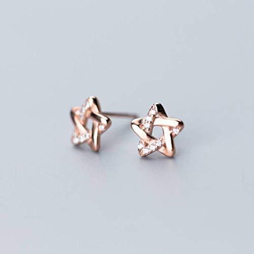 TYERY Pendientes de Plata S925, Pendientes de Estrella de Cinco Puntas con Diamantes Femeninos, Pendientes de Dama de...