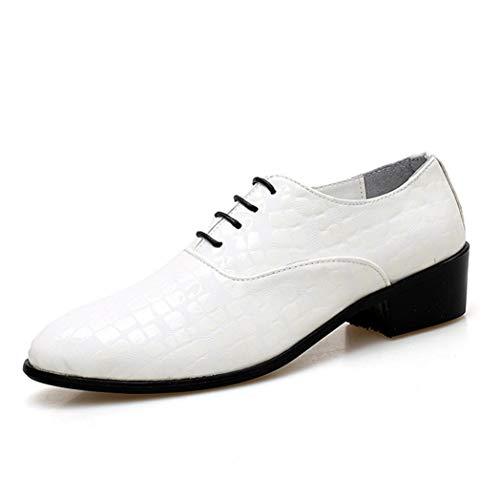 DJIUK Herren Formelle Schuhe Schnürparty Oxfords Low-Top Hochzeit Pointed Toe Split Pattern Lackleder Blockabsatz Freizeitschuhe