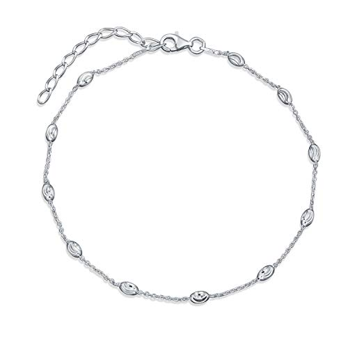 Hot Wife Diamond-Cut Oval Beads Chain Station Link Ankle Bracelet Anklet For Women Sterling Silver 9 10 Inch Adjustable