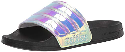 adidas Women's Adilette Shower Slide Sandal, Core Black/Iridescent/Core Black, 6