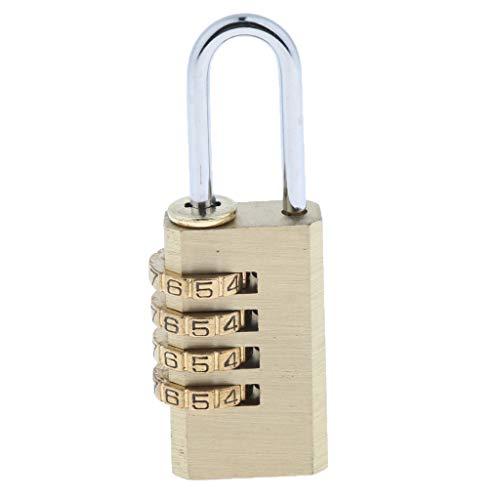 yotijar 3/4 Dígitos Número Contraseña Bloqueo de Código Combinación Bloqueo de Almohadilla Portátil Durable - Cobre L