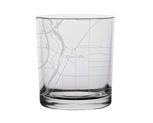 Idaho Falls City Map Whiskey Glass Idaho