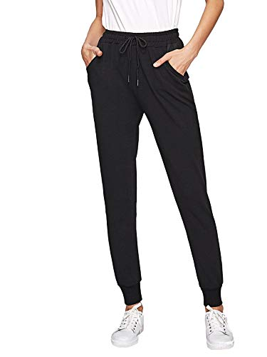 SweatyRocks Women's Drawstring Waist Athletic Sweatpants Jogger Pants with Pocket Solid Black Large