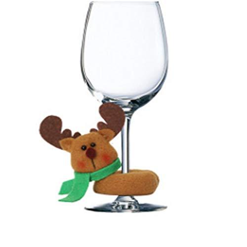 Without Copas de Vino Tinto Copa de Vino Conjunto de Copa 1pc Vino de la Navidad de Cristal Charm Tela de Navidad Festiva del Vidrio de Vino Marcadores Anillos Etiquetas (Color : 3)