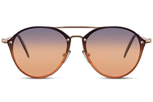 Cheapass Gafas de Sol Redondas Piloto Puente Doble Doradas Metálicas con Azul a Naranja Graduales Cristales UV400 protegidas