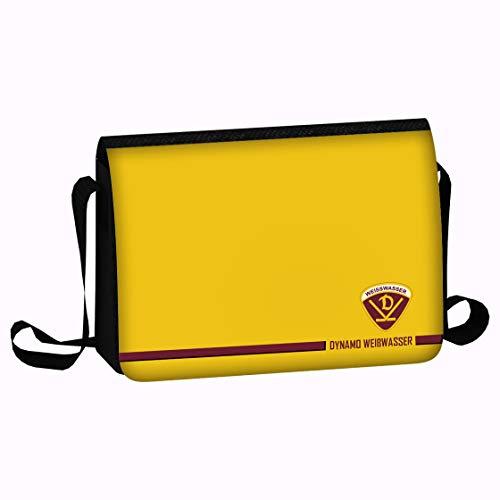 SPORTSMA Dynamo Weißwasser Unisex Schultertasche Umhängetasche Messenger Bag aus 100% Polyester gelb mit Logo Eishockey Fanartikel