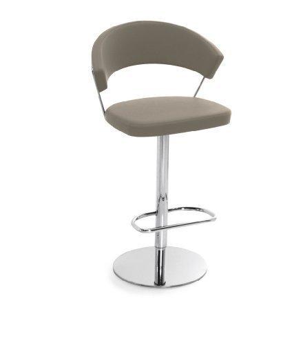 Calligaris New York Gepolsterte Sitzfläche Gepolsterte Rückenlehne 1leg (S) Barhocker–Barhocker (Sitz gesteppt Taupe, Synthetik, Grau, Metall, Chrom, gepolsterte Rückenlehne)