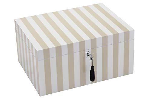 Gift Company 77329 Schmuckbox - Schmuckkasten - Schmuckschatulle mit Schloß - L - Stripes - beige/weiß 31 x 23 x 15 cm