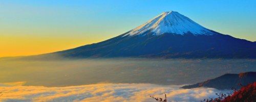 絵画風 壁紙ポスター (はがせるシール式) 天晴れの富士山と雲海 富士山 開運 パワースポット パノラマ キャラクロ FJS-101P1 (パノラマ版 1440mm×576mm) 建築用壁紙+耐候性塗料