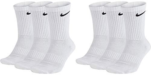 Nike 6 Paar Socken Herren Damen Weiß Grau Schwarz Tennissocken Sportsocken Sparset SX7664 Größe 34 36 38 40 42 44 46 48 50, Farbe:weiß, Größe:38-42