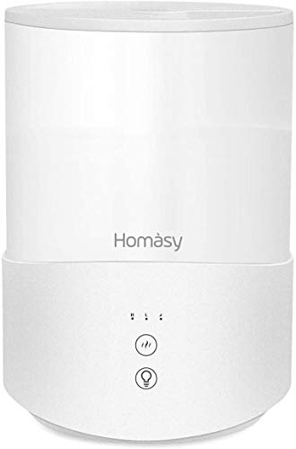 Homasy Cool Mist Humidifier , 2.5L Essential Oil Diffuser, Top Fill Humidifier for Bedroom, Adjustable Mist Output, Sleep Mode, Auto Shut Off, Pure White