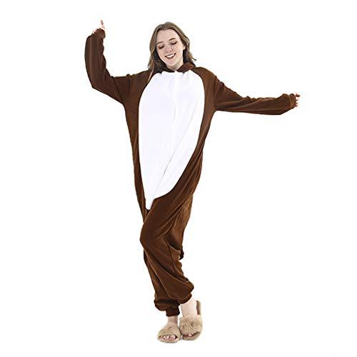 WANGLXPA Weicher AFFE Onesie Jumpsuits Halloween Kostüm Pyjama Oberall Hausanzug Kigurum Schlafanzug Kostüme, S