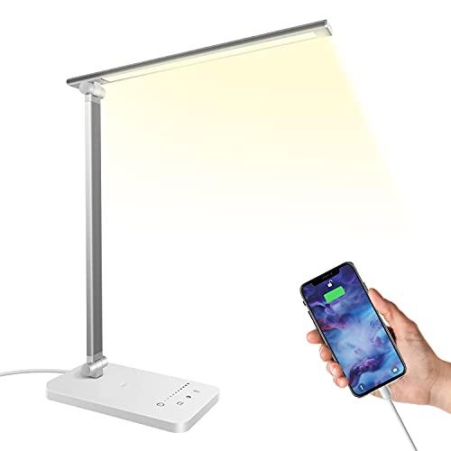 Lampada da scrivania a LED 5W, Lampada da Tavolo con Porta di Ricarica USB, Protezione degli occhi, Touch Control, 5 livelli di luminosità 5 Modalità di Illuminazione, per Ufficio & Studio, Argento