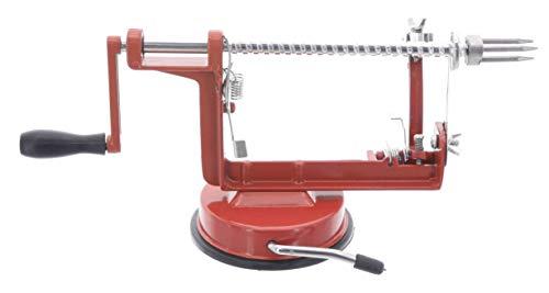 MIK Funshopping Apfelschälmaschine Profi-Apfelschäler und Apfel-Schneider mit Saugknopf (Rot)