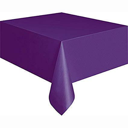Mountclear 12-Pack Disposable Plastic Tablecloths - 54 x 108 Inch Size Table Cloth (Purple)