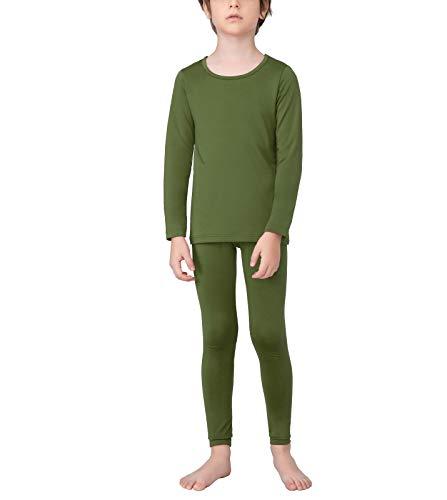 LAPASA Boy Set Intimo Termico per Bambini - Ti Tiene al Caldo Senza Stress- T-Shirt Maniche Lunghe & Pantaloni Invernali B03 (L(Anni 10-12), Verde)