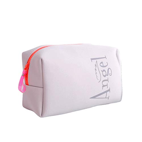 ZAZA Bolso cosmético portátil para Mujeres Hombres Tela de Buceo Bolsa de Maquillaje Bolsa de Aseo de Viaje Bolsa de Almacenamiento Multifuncional Bolsa de Almacenamiento-Fluorescente Naranja/Gris