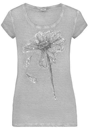 Fresh Made Damen Pailletten T-Shirt mit Blumen-Muster Light-Grey S