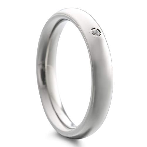 Heideman Ring Damen Paari aus Edelstahl Silber Farben matt oder poliert Damenring für Frauen mit Zirkonia Stein Kristall Weiss
