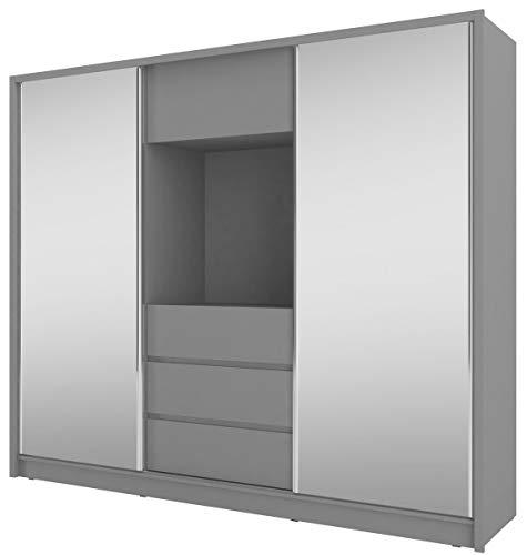 Furniture24 Schwebetürenschrank Tv 250, Kleiderschrank, Media Schrank, Schlafzimmerschrank mit Spiegel, Kleiderstange, 3 Schubladen und Tv Fach (Graphite)
