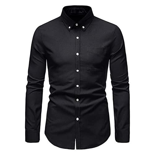 Ocuhiger Camisa De Vestir Clásica A La Moda para Hombre Camisas Formales De Negocios De Corte Estándar Regular Delgado con Botones Blusas De Manga Larga Blusa Patchwork Pocket Negro