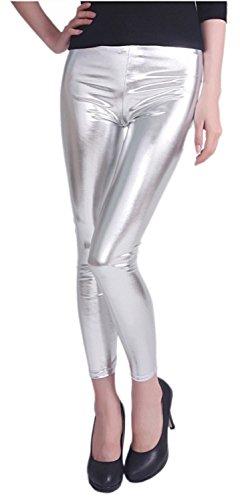 Shelikes Leggings für Damen, glänzend, Metallic, Stretch, Wetlook, Slim Fit Gr. 38-40, silber
