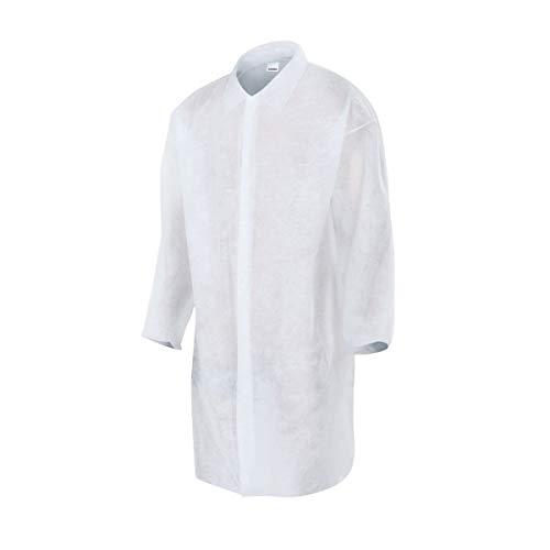 Pack 50 Batas de Visita de Polipropileno Desechables Sin Bolsillos Talla XL Cierre Velcro (Blanco)