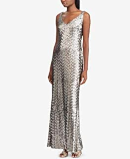 RALPH LAUREN Womens Silver Sequined Gown Sleeveless V Neck Full-Length Evening Dress US Size: 16