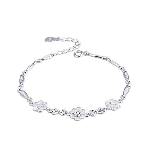 1 pulsera de mujer con flor de oro rosa extensor cadena dulce creativo plata natural