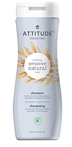 ATTITUDE Unscented Volumizing Hair Shampoo for Sensitive Skin, EWG Verified Plant- and Mineral-Based ingredients, Enriched with Oatmeal, Vegan and Cruelty-free, Fragrance Free, 16 Fl Oz