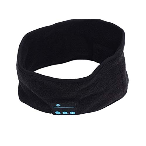Naisicatar Música Inalámbrica Bluetooth Deporte Diademas Diadema Sueño Auriculares Sombreros Correa Construido En El Altavoz Inalámbrico para Deportes Al Aire Libre Correr Correr Caminar - Negro