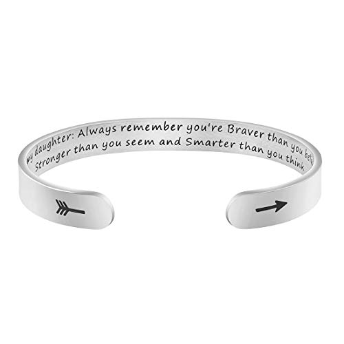 MEMGIFT Daughter Mother Bracelets Wide Cuff Bangle Message Engraved for Her (to My Daughter, Always Remember You're Braver Than You Believe)