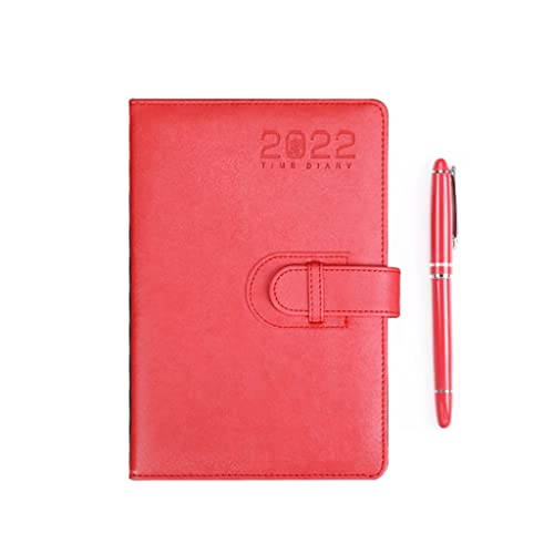 2022 Planner- Weekly& Monthly Planner with Color- changing PU Leather Cover, Invisible Pen Holder, A4 Hardcover Notebook (Color : Red)