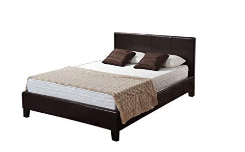 Double 4ft6 BLACK Faux Leather bed Prado + Tanya Mattress