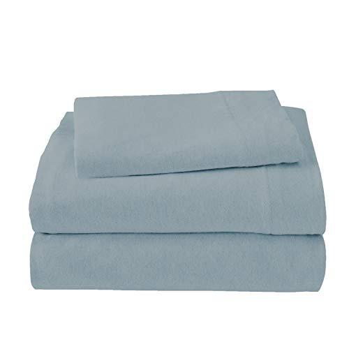 Royale Linens Soft Tees Cotton Modal Jersey Knit Sheet Set, Twin, Smoke Blue