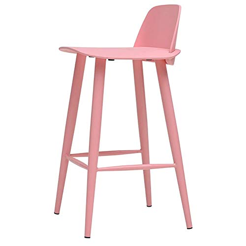 HYRGLIZI Taburete de Bar Rosa de plástico, Altura del Asiento 65 cm, Silla de la Barra de la Altura del mostrador de la Cocina (Color: Rosa, tamaño: Altura del Asiento 65 cm)
