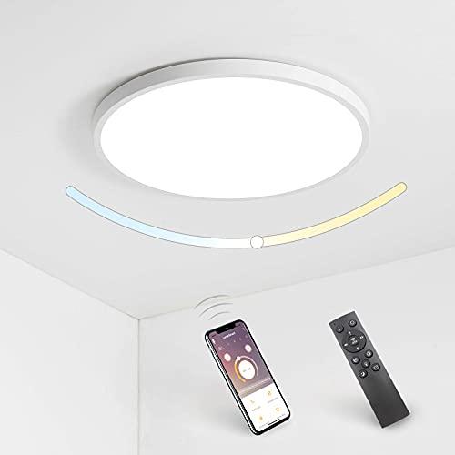 Plafoniera a LED con Telecomando con APP Bluetooth Lampada da Soffitto a LED Dimmerabile Ultra Sottile Rotonda Luce Impermeabile 28W, 2800LM, 3000K-6500K, per Camera Letto, Soggiorno, Bagno, Corridoio