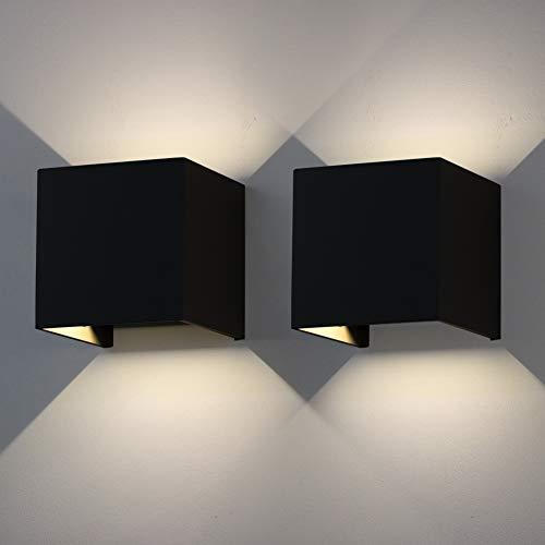 Klighten 12W LED Apliques de pared, 2 piezas, interior Ajustable al aire libre Iluminación Aluminio IP65 LED Lámpara moderna Efecto decorativo iluminación mural Luz 4000K Naturweiß, Negro
